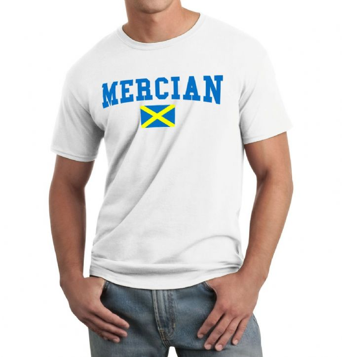 Mercian T-shirt in white with print of the flag of Mercia